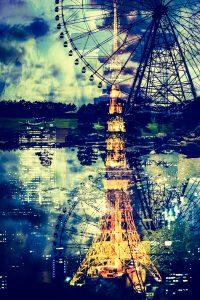 東京タワーと観覧車がある街