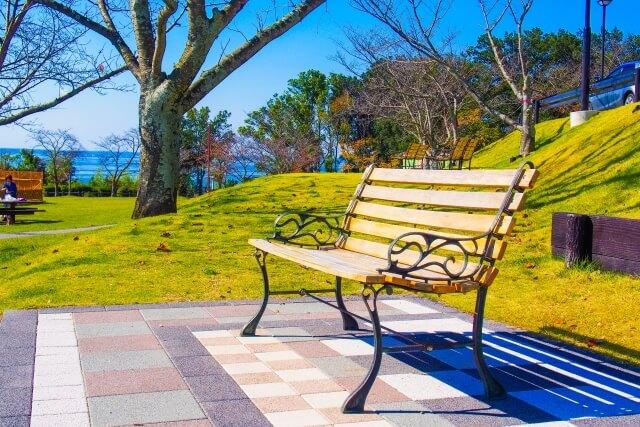 晴天の日にあるベンチ