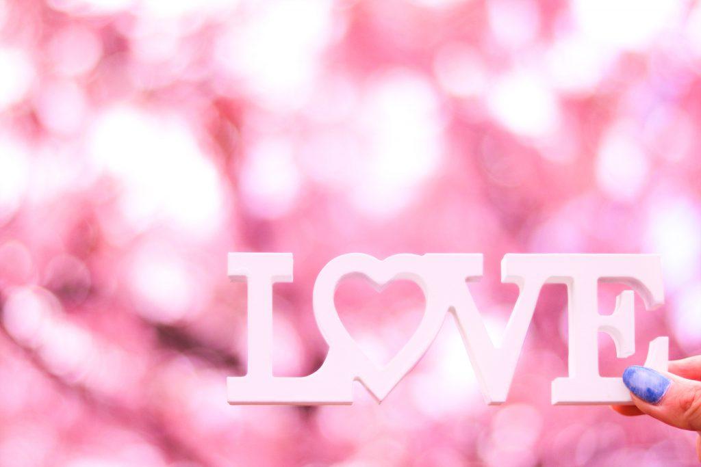 ピンク色の桜をバックに右下にレイアウトしたLOVEプレート