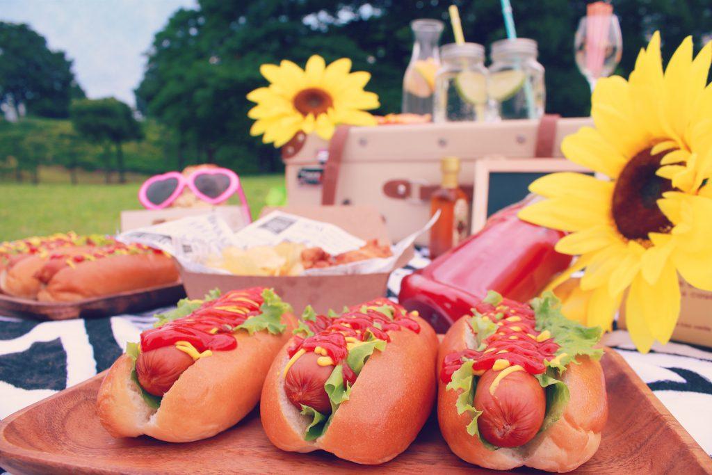 ピクニックに登場したおいしそうなホットドッグ