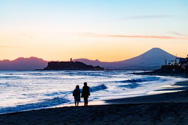 稲村ケ崎から富士山・江の島を望む夕景