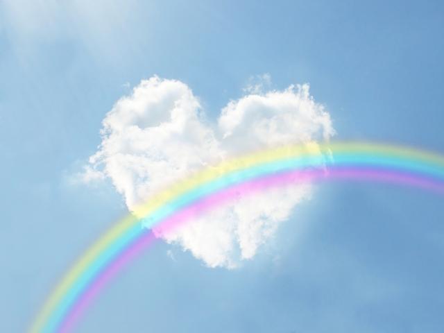 ハートの雲と虹