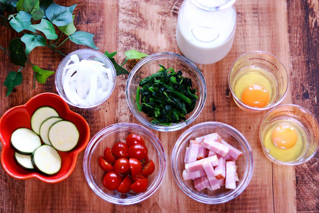 野菜と卵と牛乳