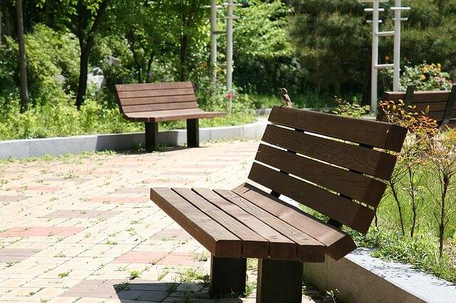 公演の2つのベンチ