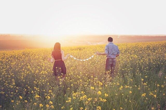 日没にお花畑を歩くカップル