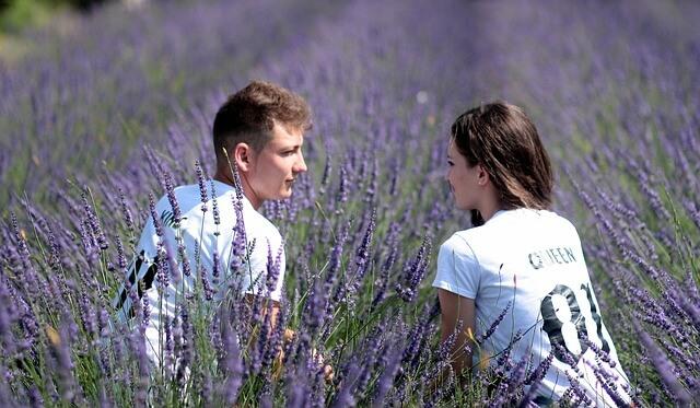 ラベンダー畑で向かい合うカップル