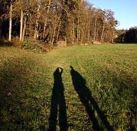 散歩するカップルの影