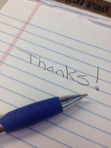 ノートに書かれた「Thanks」の文字