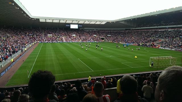 観戦席から見たサッカー場