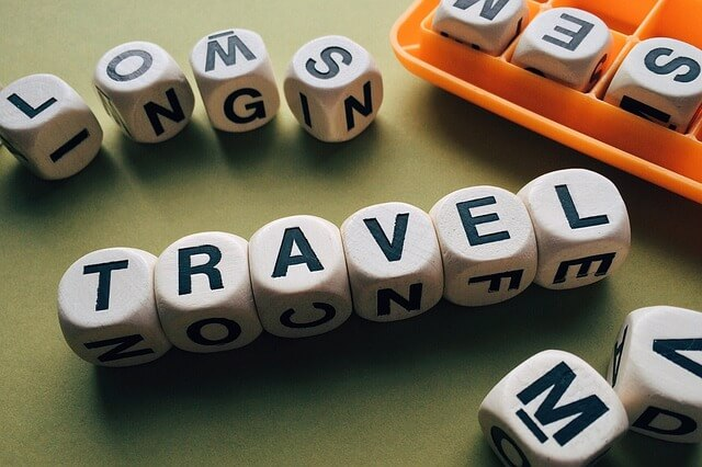 旅行と書かれたアクセサリー