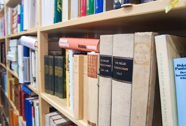 本棚に積み重なった本