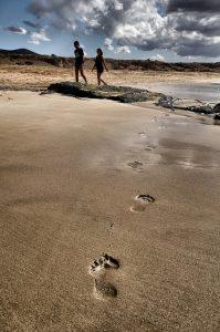 砂浜に残った足跡
