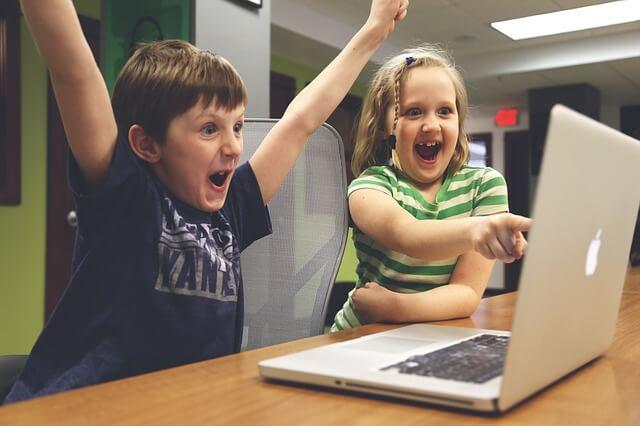 PCを使って楽しむカップル