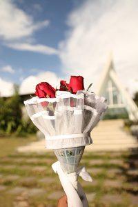 プレゼントの赤いバラ