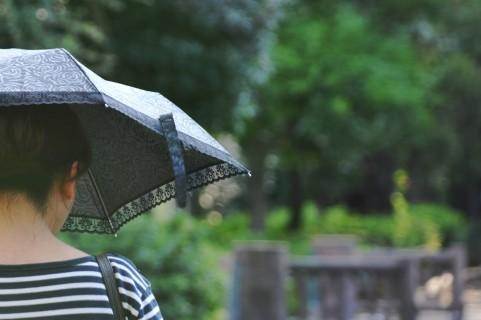 雨の中一人ぼっちで歩く女性