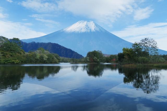 プチ旅行で富士山を見るカップル
