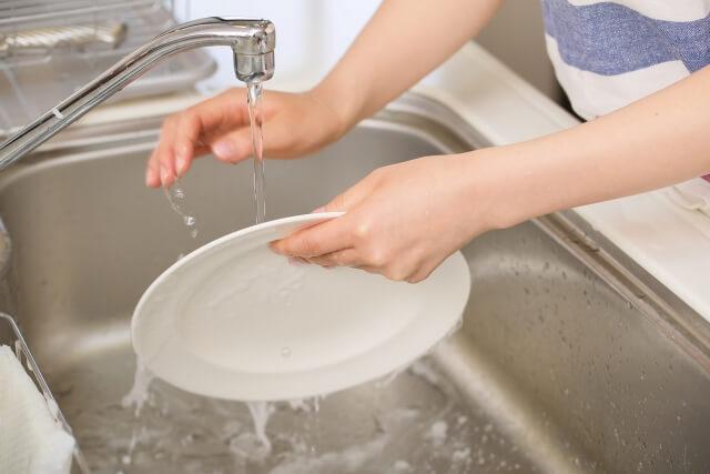 皿を洗う専業主婦